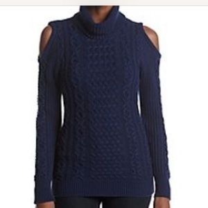 Ruff Hewn Cold Shoulder Knit Sweater